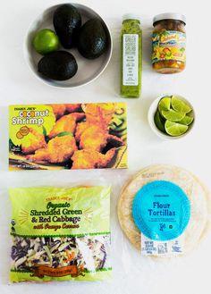 Recipe: Easy tacos with Trader Joe's Coconut Shrimp and Island Salsa. Trader Joes Salad, Trader Joes Food, Shrimp Taco Recipes, Mexican Food Recipes, Healthy Recipes, Healthy Food, Weekly Recipes, Budget Recipes, Weekly Menu