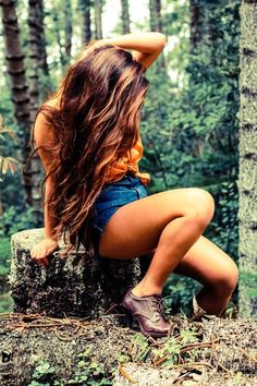 long hair in forest