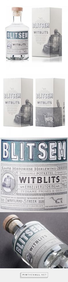 Blitsem Witblits liquor packaging design by Fanakalo - http://www.packagingoftheworld.com/2017/09/blitsem-witblits.html