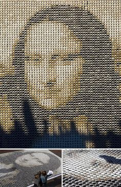 Mona Lisa made of different coffe cups // Mona Lisa hecha con tazas de distintos cafés.