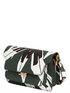 """marni - женщины - сумки на ремне - сумка """"trunk"""" из сафьяновой кожи с принтом"""