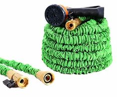 Ohuhu Expandable Garden Hose 50 Feet, Heavy Duty Flexible Hose, Lightweight Water Hose with Spray Nozzle, Solid Brass On/Off Valve Connectors Garden Hose, Garden Tools, Water Hose, Tree Seeds, Love Garden, Garden Seeds, Garden Chairs, Outdoor Storage, Solid Brass
