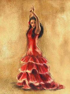 Tangletown Fine Art Flamenco Dancer I by Caroline Gold Fine Art Giclee Print on Gallery Wrap Canvas, 18 x 24 Chanel Little Black Dress, Little Red Dress, Arte Latina, Spanish Dancer, Spanish Art, Spanish Culture, Dance Paintings, Poster Prints, Art Prints