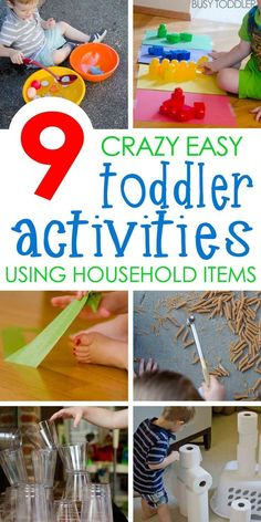 9 Quick and Easy Activities: Check out these awesome toddler activities! No-prep toddler activities using household items. These activities are perfect for toddlers!