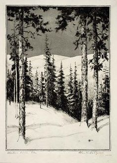 'Western Pines', by Charles W Dahlgreen.  1864-1955     Drypoint & aquatint
