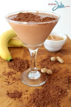 Cocoa Banana Peanut Butter Smoothie recipe SoberJulie.com #Mocktail #Smoothie #Drink Recipe