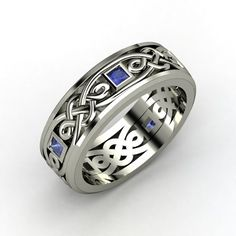 The Alhambra Knot Band #customizable #jewelry #mens #sapphire #gold #ring