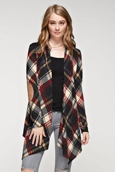 The Presley plaid waterfall cardigan with suede elbow patches