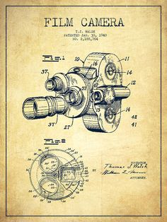 Film Camera Patent Drawing from 1938 Art Print by Aged Pixel. All prints are professionally printed, packaged, and shipped within 3 - 4 business days. Choose from multiple sizes and hundreds of frame and mat options. Vintage Prints, Vintage Posters, Kamera Tattoos, Graphisches Design, Design Trends, Patent Drawing, Film Camera, Canon Camera Models, Technical Drawing