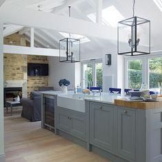 Yes, please // Grey open-plan Shaker-style kitchen   Kitchen decorating   Beautiful Kitchens   Housetohome.co.uk