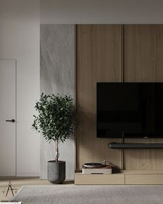 Japanese Interior, Modern Interior, Interior Architecture, Living Room Tv, Interior Design Living Room, Living Room Designs, Tv Wall Design, House Design, Hotel Room Design