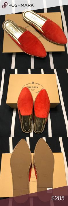 Prada Red Espadrille Mules Brand new Prada Espadrille Mules. Love the bright red color! These retail for $490 at Neiman Marcus. Comes with box. :) Prada Shoes