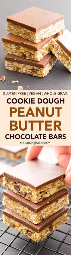 No Bake Chocolate Peanut Butter Oatmeal Cookie Dough Bars (V, GF, DF): an easy recipe for decadent peanut butter cookie dough bars topped with a thick layer of chocolate and bursting with oats. #Vegan #GlutenFree #OatFlour #DairyFree | BeamingBaker.com