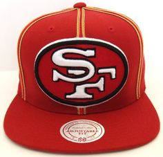 San Francisco 49ers Red Wheat White Mitchell /& Ness Adjustable Fit Snapback Hat