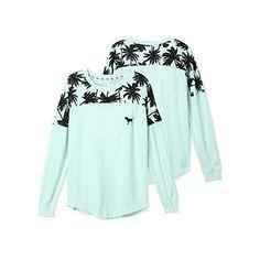 Victoria's Secret PINK Graphic Mesh Varsity Crew Neck Sweatshirt Aqua... ($70) ❤ liked on Polyvore featuring tops, hoodies, sweatshirts, victoria's secret, green crew neck sweatshirt, graphic sweatshirts, graphic crew neck sweatshirts and green top