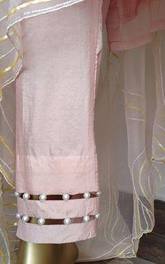 Powder Pink Sequin Work Kurta Set with Organza Dupatta - LabelKanupriya Salwar Neck Designs, Neck Designs For Suits, Kurta Neck Design, Sleeves Designs For Dresses, Dress Neck Designs, Stylish Dress Designs, Kurta Designs Women, Sleeve Designs, Stylish Dresses