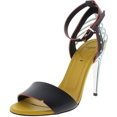 Fendi Womens Leather Caged Heels * Amazing product just a click away  : Strappy sandals