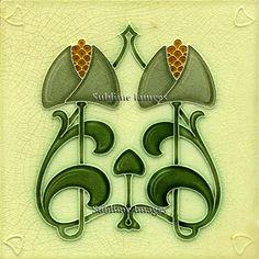 Ceramic Tile 6 inch square - Vintage Art Nouveau Tile.