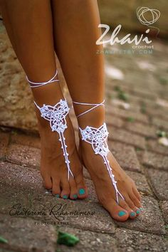 Wedding White Crochet Barefoot Sandals, Foot Jewelry, Beach wedding shoes, Bridal Sandals by ZHAVI on Etsy https://www.etsy.com/listing/187837795/wedding-white-crochet-barefoot-sandals