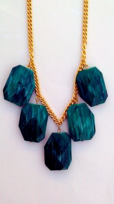 CYBER MONDAY Teal and Gold Statement Necklace by PaolaLoves2Shop, $15.00