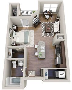 Stylish studio apartment floor plans ideas 25 The purchase price reach of the Apartment was amazing. An individual should not rush apartment searching. Small Apartment Plans, Studio Apartment Floor Plans, Studio Floor Plans, Studio Apartment Layout, Studio Apartments, Apartment Design, Small Apartments, Small Spaces, Apartment Ideas