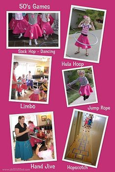 50's Theme - Game ideas: Hula hoop, limbo, sock hop dancing.