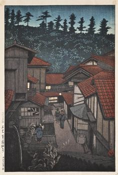 Kawase Hasui (1883-1957) The Yukufu Hot Springs From The Series Tabi Miyage San Isshu (38,5 x 26 cm)