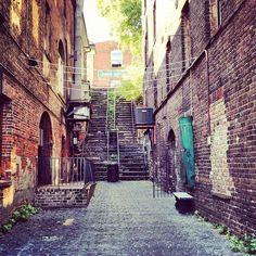 Cobblestone, old stairway along River Street in Savannah