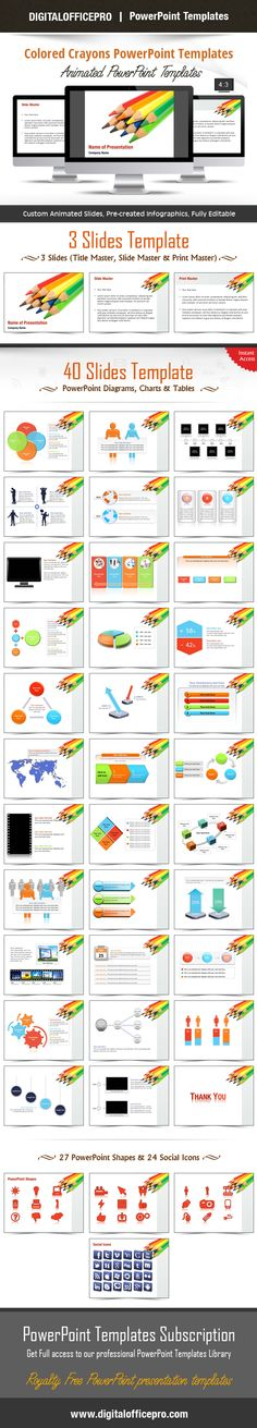 Impress and engage your audience with colorful crayons powerpoint colored crayons powerpoint template backgrounds toneelgroepblik Image collections