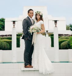 Modest wedding dress with soft cap sleeve from alta moda on gorgeous bride from Hawaii. . photo: jessica janae