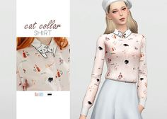 Cat Collar Shirt • New mesh / EA mesh edit • Category: top (women) • Age: teen / young adult / adult / elder • 4 swatches • Suggested by @torrrtia Download: SimFileShare
