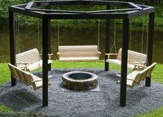 Extraordinäre Holzschaukel - selber aufbauen Konstruktion Feuerstelle fertig - mit Anleitung