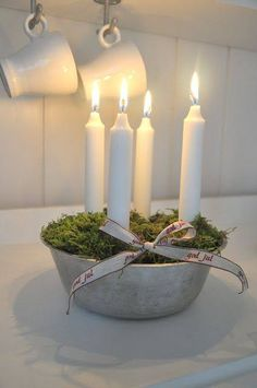 Centerpiece of Moss and Candles