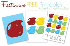 Fiestaware Free Printables- click on each image- the printable will upload in box - download- save as