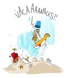 vacaciones Funny Illustration, Photo Illustration, Dream Music, Image Fun, Digital Art Girl, Humor Grafico, Drawing For Kids, Caricature, Vignettes