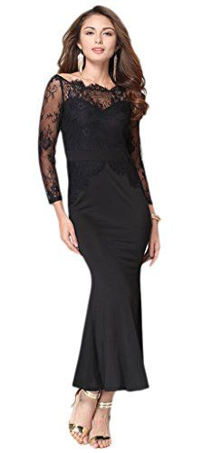 Smile YKK Lace Splice Off Shoulder Evening Party Formal Long Dress Black XL. Material: Lace & Cotton Blend. Asia Size: S: Bust:88cm, Length:126cm, Waist:70cm, Sleeve:58cm;M: Bust:88cm, Length:126cm, Waist:74cm, Sleeve:59cm;L: Bust:94cm, Length:128cm, Waist:80cm, Sleeve:60cm;XL: Bust:100cm, Length:128cm, Waist:86cm, Sleeve:61cm;XXL: Bust:110cm, Length:130cm, Waist:96cm, Sleeve:62cm. Show your perfect curves,shows your charm and elegant. Occasion : Wedding party; Evening Party Dress; Cocktail…
