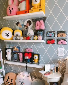 """be back soon on Instagram: """"bt21 collection on some shelves , these are new and pretty - - - - - - - - - - - #kimnamjoon #kimseokjin #minyoongi #junghoseok #parkjimin…"""" Army Decor, Army Room Decor, Teen Room Decor, Room Ideas Bedroom, Bedroom Decor, Mochila Do Bts, Army Bedroom, Kpop Diy, Kawaii Room"""