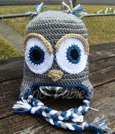 $20 1-5yr gray/blue crocheted owl hat