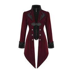Devil Fashion Womens Jacket Coat Red Velvet Gothic Steampunk... ($105) ❤ liked on Polyvore featuring outerwear, coats, steam punk coat, gothic velvet coat, gothic coat, steampunk coat and red coat
