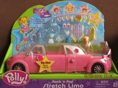 """Polly Pocket Rock 'n Pop STRETCH LIMO Car (PINK) LIMOUSINE w SOUNDS, Polly Doll & MORE! (2003) by Mattel. $49.99. Car has SOUNDS! Pop ON Hair for 100's of Looks for Polly Doll! All provided sizes, colors & details are to the best of my ability may not be exact, & may vary.. For Ages 3+ years. For Box Condition see CONDITION NOTE or Email Seller for Details.. Pink Stretch Limo Car w/silvery roof; Limo is approx. 10-3/4"""" long & has Stylin' Sounds!. Polly Pocket Rock 'n Pop Stret..."""