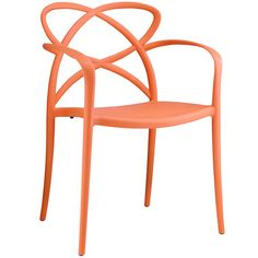 Modern Enact Dining Armchair Accent Chair in Orange