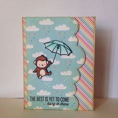 Mama Elephant Encouragement Card | Flickr - Photo Sharing! ME: Up and Away and Landscape Trio Dies; Lawn Fawn: Hello Sunshine pattern paper.