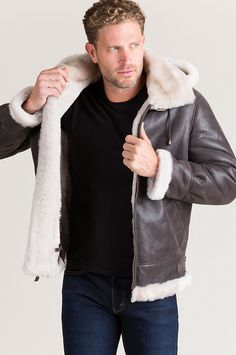 Classic Sheepskin B-3 Bomber Jacket with Detachable Hood Rugged Men 7504c6d31d4