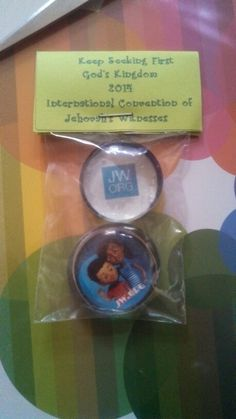 Homemade Magnets and bag toppers for Atlanta International Convention. Jw.org