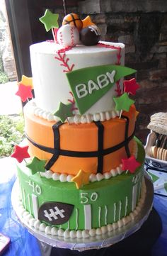 Sports Themed Baby Shower - Daddy Cakes Bakery, Fort Collins, CO. Sports Themed Cakes, Sports Theme Birthday, Birthday Parties, Birthday Cakes, Baby Shower Cakes, Baby Shower Themes, Baby Boy Shower, Shower Ideas, Sports Theme Baby Shower