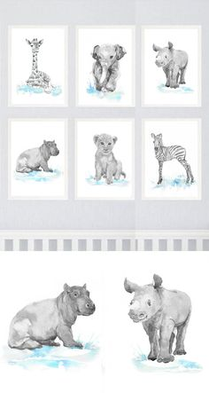 Neutral Nursery Decor Safari Art Set of 6 Prints Baby by ValrArt