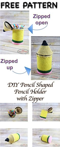 This DIY Pencil-Shaped Pencil Holder in a Coffee Can with Zipper is easy to make and super popular amount school children and teachers. Keep all your pencils pens and rulers organized in one place. This DIY Pencil-Shap Crochet Home, Crochet For Kids, Easy Crochet, Free Crochet, Crochet Bags, Crochet Pencil Case, Zipper Pencil Case, Pencil Cases, Crochet Teacher Gifts