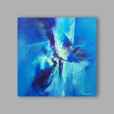 Abstract Painting Blue Green White by Artoosh on Etsy Art Pages, Blue Green, Abstract Art, Original Paintings, Projects To Try, Colours, Canvas, Artwork, Etsy