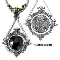 Alchemy Gothic The Obsidian Mirror Pendant Necklace [P488] - $69.00 : Mystic Crypt, the most unique, hard to find items at ghoulishly great prices!