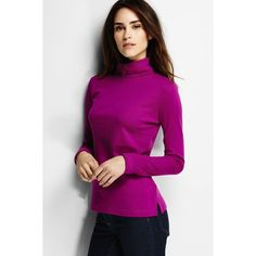 Lands' End Tall Supima Shaped Turtleneck ($30) ❤ liked on Polyvore featuring tops, sweaters, tall tops, purple sweater, purple crop top, cropped turtleneck and cropped turtleneck sweater